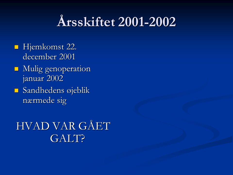 Årsskiftet 2001-2002 Hjemkomst 22. december 2001 Hjemkomst 22.