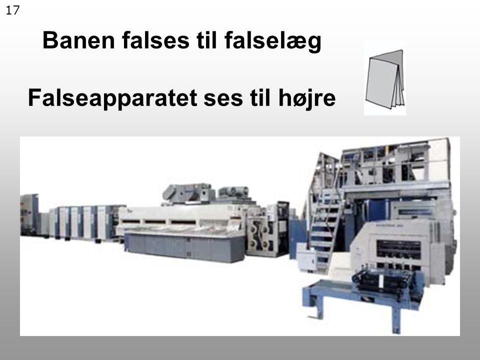 17 Banen falses til falselæg Falseapparatet ses til højre
