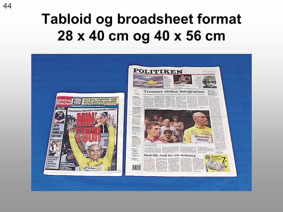 44 Tabloid og broadsheet format 28 x 40 cm og 40 x 56 cm