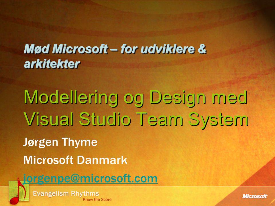 Mød Microsoft – for udviklere & arkitekter Mød Microsoft – for udviklere & arkitekter Modellering og Design med Visual Studio Team System Jørgen Thyme Microsoft Danmark jorgenpe@microsoft.com