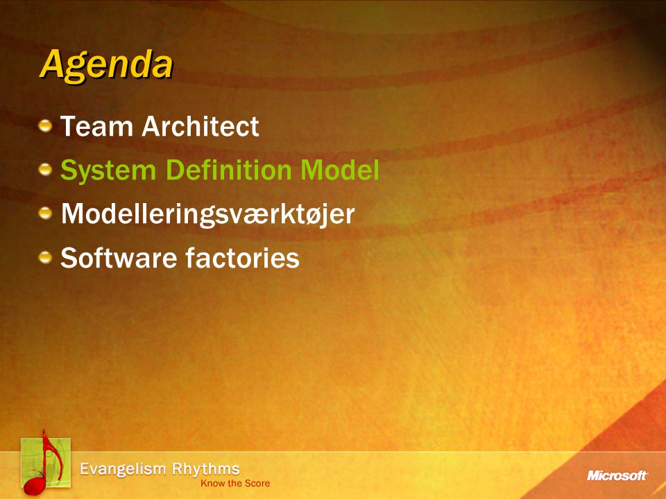 Agenda Team Architect System Definition Model Modelleringsværktøjer Software factories