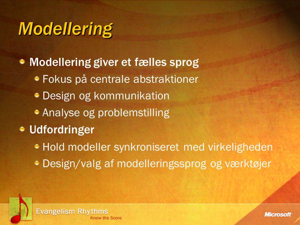 Modellering Modellering giver et fælles sprog Fokus på centrale abstraktioner Design og kommunikation Analyse og problemstilling Udfordringer Hold modeller synkroniseret med virkeligheden Design/valg af modelleringssprog og værktøjer