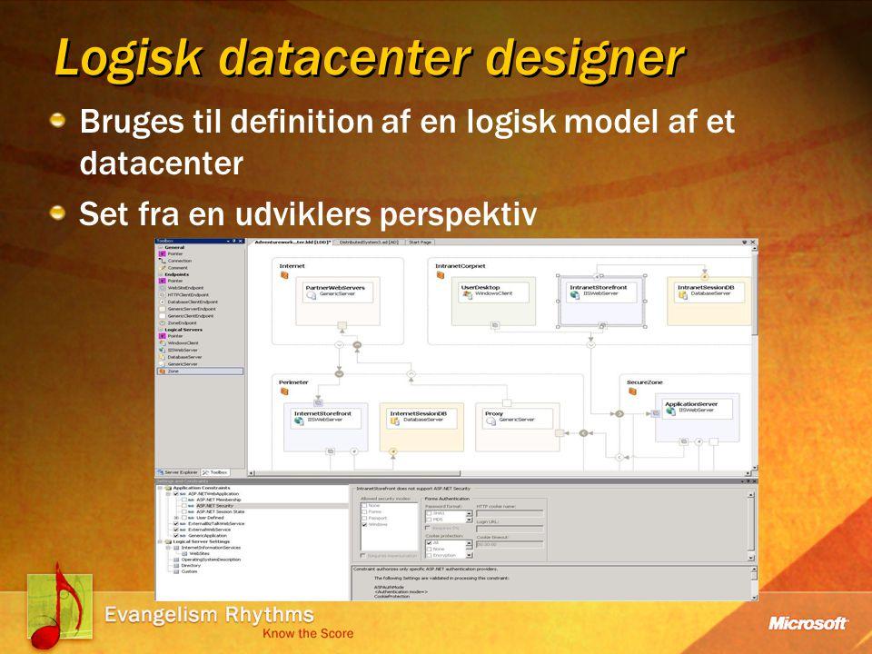 Logisk datacenter designer Bruges til definition af en logisk model af et datacenter Set fra en udviklers perspektiv