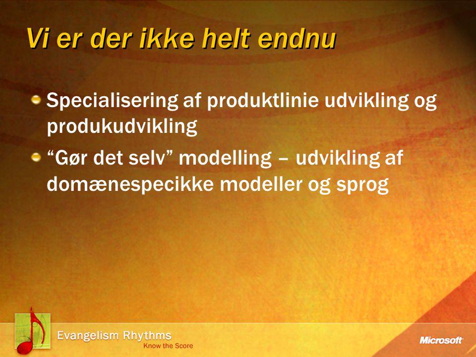 Vi er der ikke helt endnu Specialisering af produktlinie udvikling og produkudvikling Gør det selv modelling – udvikling af domænespecikke modeller og sprog