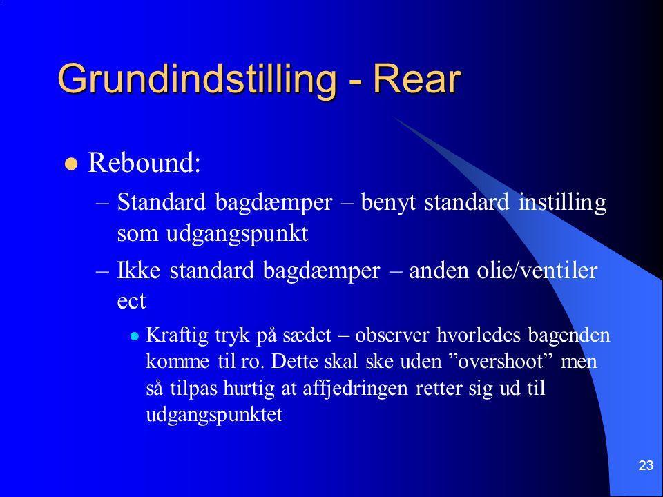 23 Grundindstilling - Rear Rebound: –Standard bagdæmper – benyt standard instilling som udgangspunkt –Ikke standard bagdæmper – anden olie/ventiler ect Kraftig tryk på sædet – observer hvorledes bagenden komme til ro.