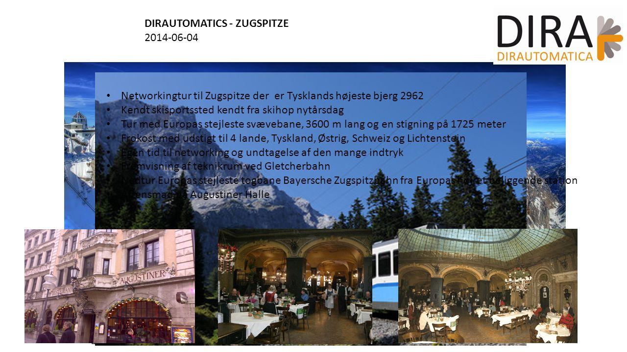 DIRAUTOMATICS - ZUGSPITZE 2014-06-04 Networkingtur til Zugspitze der er Tysklands højeste bjerg 2962 Kendt skisportssted kendt fra skihop nytårsdag Tur med Europas stejleste svævebane, 3600 m lang og en stigning på 1725 meter Frokost med udstigt til 4 lande, Tyskland, Østrig, Schweiz og Lichtenstein Egen tid til networking og undtagelse af den mange indtryk Fremvisning af teknikrum ved Gletcherbahn Nedtur Europas stejleste togbane Bayersche Zugspitzbahn fra Europas højret beliggende station Aftensmad på Augustiner Halle