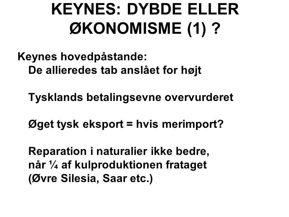KEYNES: DYBDE ELLER ØKONOMISME (1) .