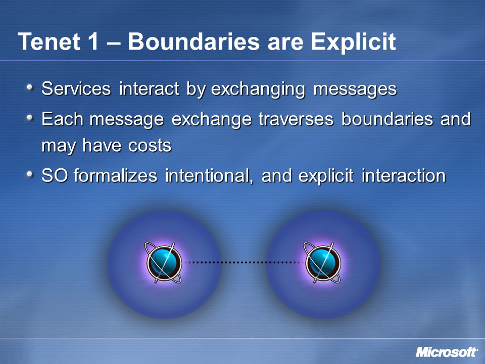 Services interact by exchanging messages Each message exchange traverses boundaries and may have costs SO formalizes intentional, and explicit interaction Tenet 1 – Boundaries are Explicit