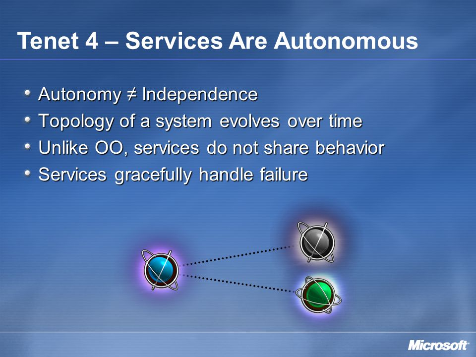 Autonomy ≠ Independence Topology of a system evolves over time Unlike OO, services do not share behavior Services gracefully handle failure Tenet 4 – Services Are Autonomous