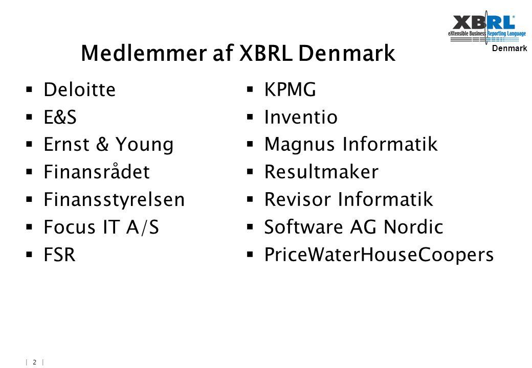 Denmark | 2 | Medlemmer af XBRL Denmark  Deloitte  E&S  Ernst & Young  Finansrådet  Finansstyrelsen  Focus IT A/S  FSR  KPMG  Inventio  Magnus Informatik  Resultmaker  Revisor Informatik  Software AG Nordic  PriceWaterHouseCoopers