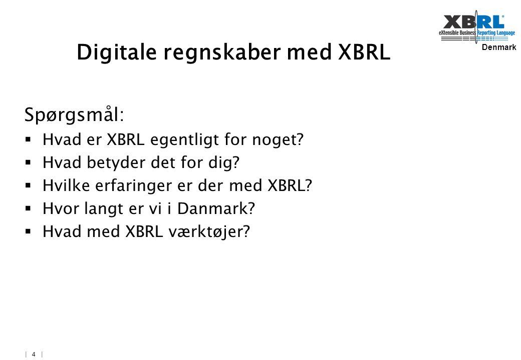Denmark   4   Digitale regnskaber med XBRL Spørgsmål:  Hvad er XBRL egentligt for noget.