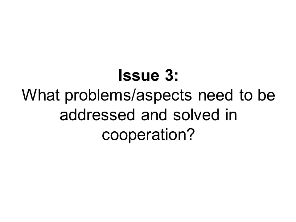 Issue 3: What problems/aspects need to be addressed and solved in cooperation