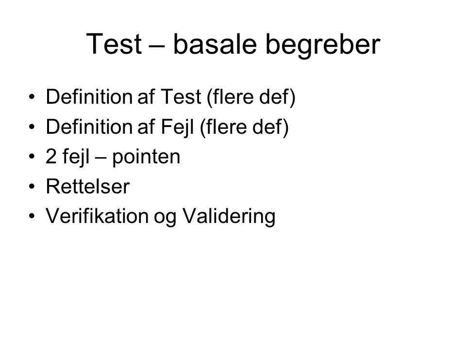 Test – basale begreber Definition af Test (flere def) Definition af Fejl (flere def) 2 fejl – pointen Rettelser Verifikation og Validering