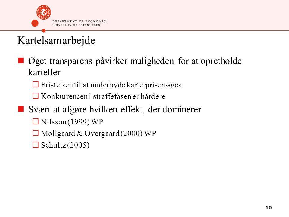 10 Kartelsamarbejde Øget transparens påvirker muligheden for at opretholde karteller  Fristelsen til at underbyde kartelprisen øges  Konkurrencen i straffefasen er hårdere Svært at afgøre hvilken effekt, der dominerer  Nilsson (1999) WP  Møllgaard & Overgaard (2000) WP  Schultz (2005)