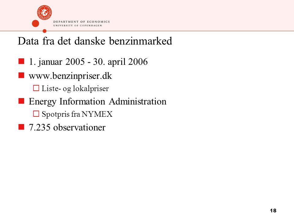 18 Data fra det danske benzinmarked 1. januar 2005 - 30.