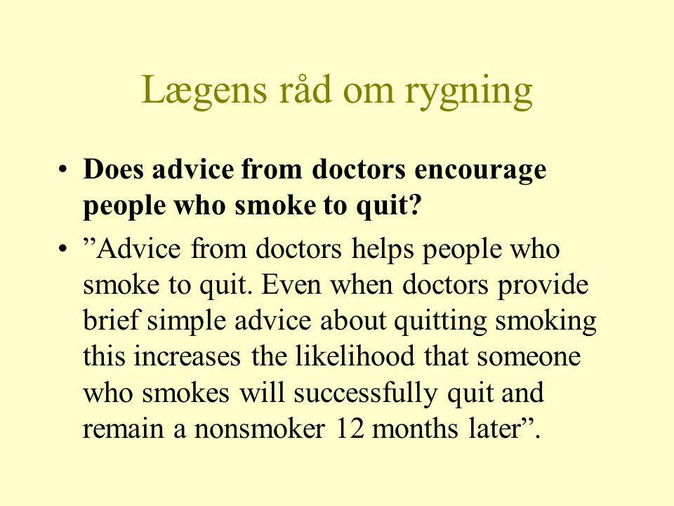 Lægens råd om rygning Does advice from doctors encourage people who smoke to quit.