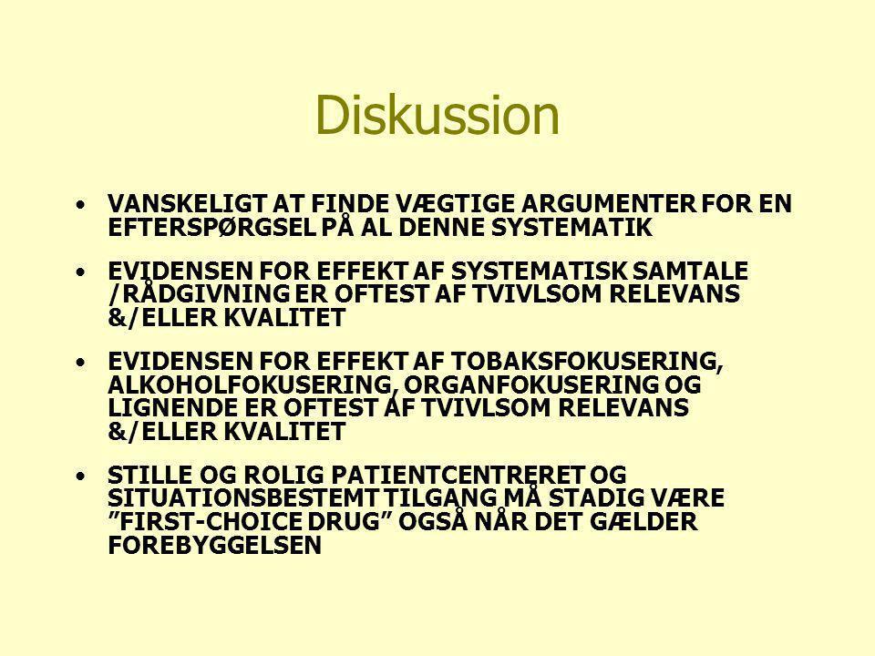 Diskussion VANSKELIGT AT FINDE VÆGTIGE ARGUMENTER FOR EN EFTERSPØRGSEL PÅ AL DENNE SYSTEMATIK EVIDENSEN FOR EFFEKT AF SYSTEMATISK SAMTALE /RÅDGIVNING ER OFTEST AF TVIVLSOM RELEVANS &/ELLER KVALITET EVIDENSEN FOR EFFEKT AF TOBAKSFOKUSERING, ALKOHOLFOKUSERING, ORGANFOKUSERING OG LIGNENDE ER OFTEST AF TVIVLSOM RELEVANS &/ELLER KVALITET STILLE OG ROLIG PATIENTCENTRERET OG SITUATIONSBESTEMT TILGANG MÅ STADIG VÆRE FIRST-CHOICE DRUG OGSÅ NÅR DET GÆLDER FOREBYGGELSEN