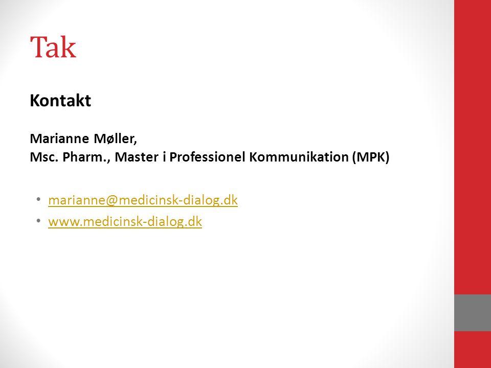 Tak Kontakt Marianne Møller, Msc.