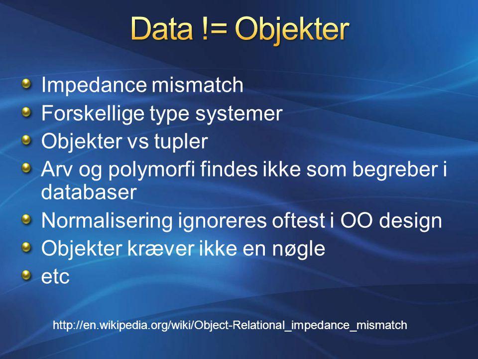 Impedance mismatch Forskellige type systemer Objekter vs tupler Arv og polymorfi findes ikke som begreber i databaser Normalisering ignoreres oftest i OO design Objekter kræver ikke en nøgle etc http://en.wikipedia.org/wiki/Object-Relational_impedance_mismatch