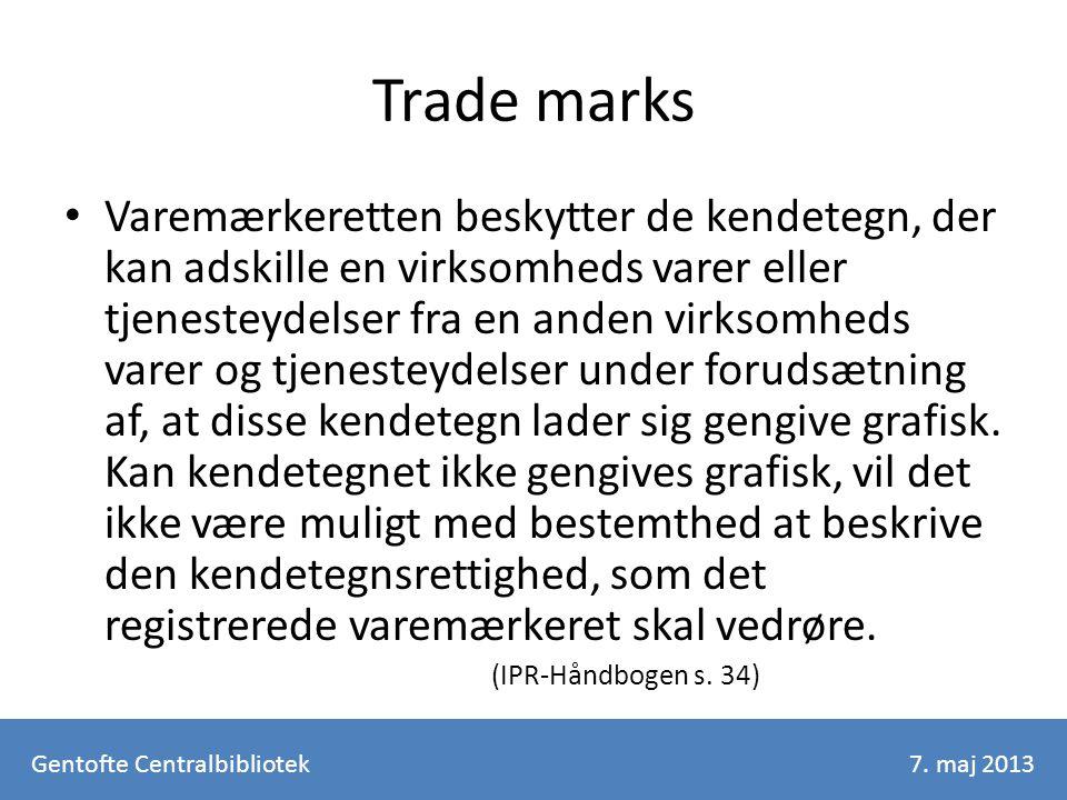 Trade marks Varemærkeretten beskytter de kendetegn, der kan adskille en virksomheds varer eller tjenesteydelser fra en anden virksomheds varer og tjenesteydelser under forudsætning af, at disse kendetegn lader sig gengive grafisk.