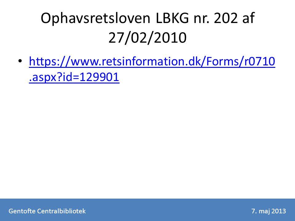 Ophavsretsloven LBKG nr.