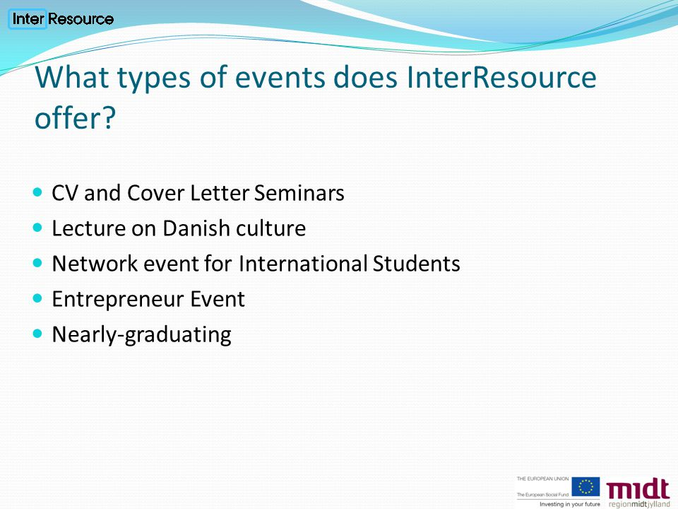 What types of events does InterResource offer.