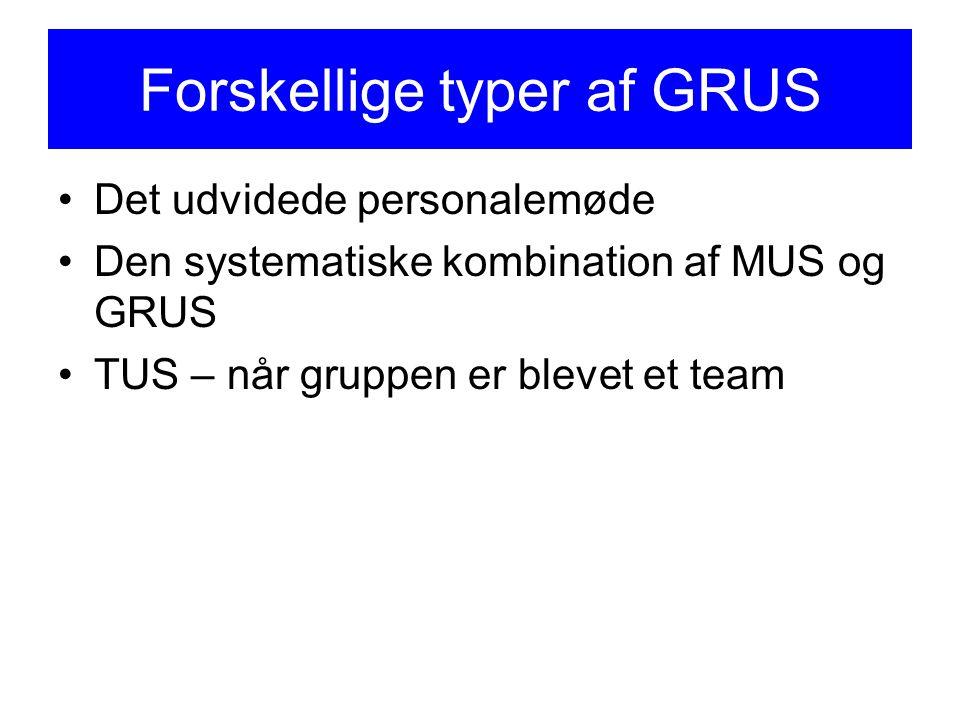 Forskellige typer af GRUS Det udvidede personalemøde Den systematiske kombination af MUS og GRUS TUS – når gruppen er blevet et team