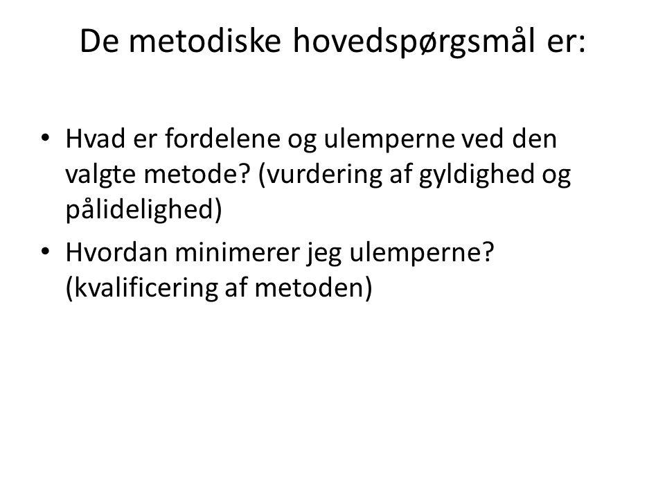 De metodiske hovedspørgsmål er: Hvad er fordelene og ulemperne ved den valgte metode.