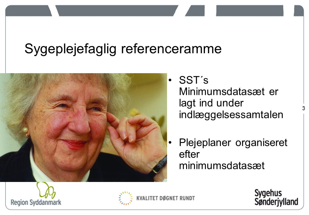 3 Sygeplejefaglig referenceramme SST´s Minimumsdatasæt er lagt ind under indlæggelsessamtalen Plejeplaner organiseret efter minimumsdatasæt
