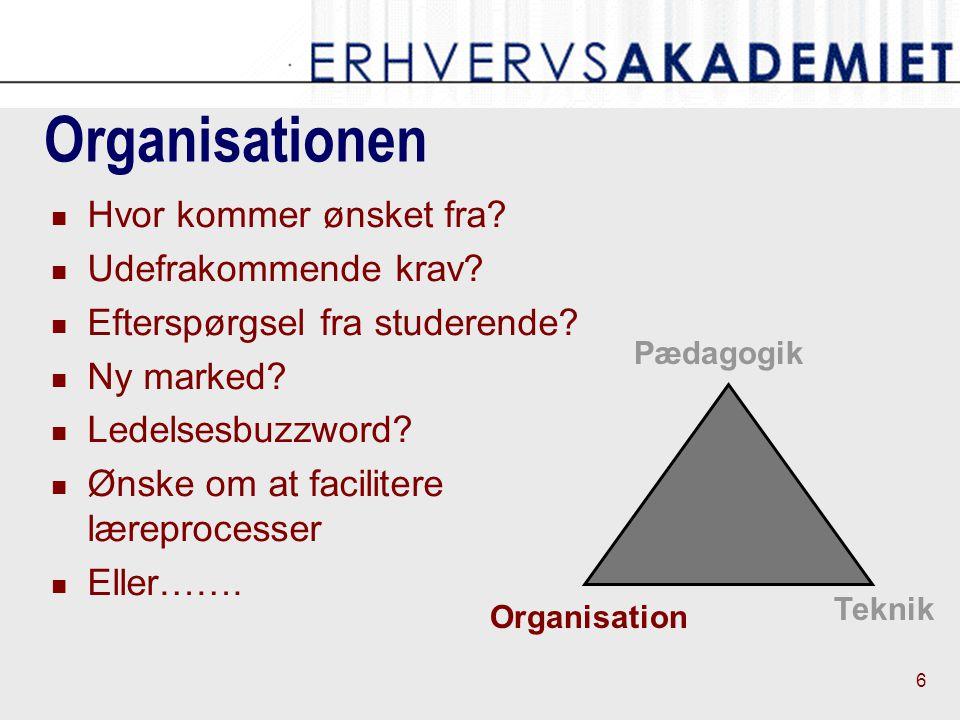 6 Pædagogik Teknik Organisation Organisationen Hvor kommer ønsket fra.