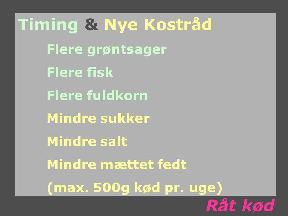 Timing & Nye Kostråd Flere grøntsager Flere fisk Flere fuldkorn Mindre sukker Mindre salt Mindre mættet fedt (max.