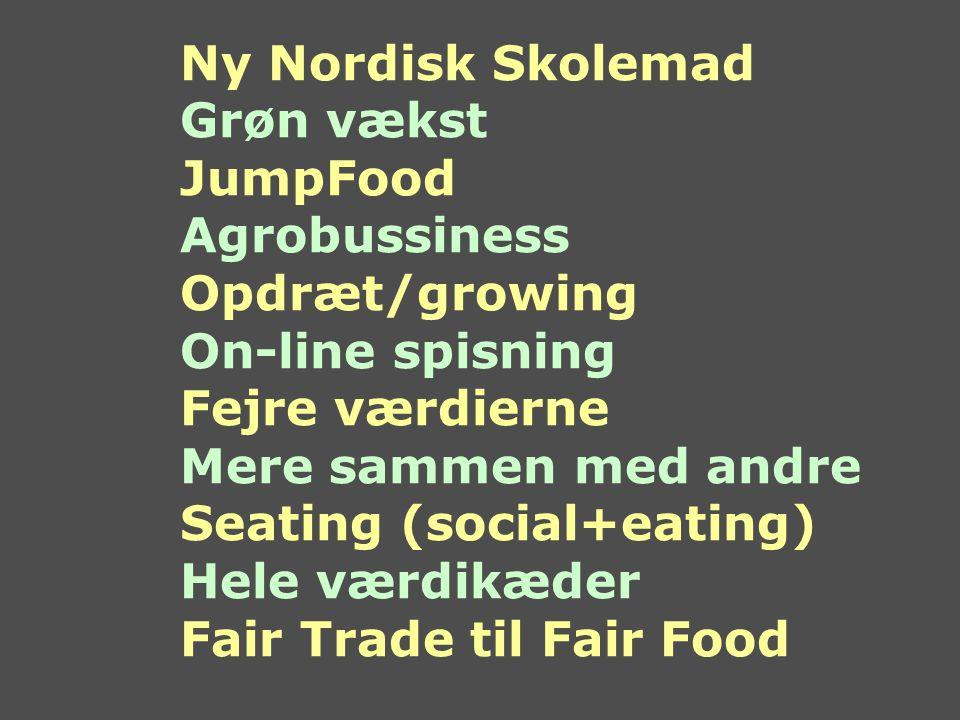 Ny Nordisk Skolemad Grøn vækst JumpFood Agrobussiness Opdræt/growing On-line spisning Fejre værdierne Mere sammen med andre Seating (social+eating) Hele værdikæder Fair Trade til Fair Food
