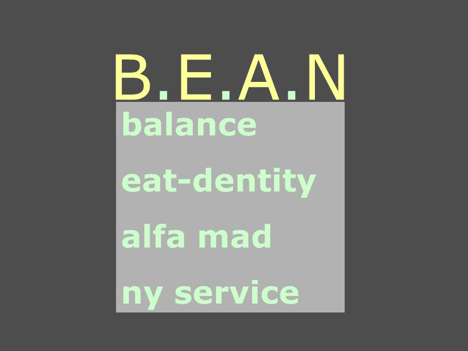 B.E.A.NB.E.A.N balance eat-dentity alfa mad ny service
