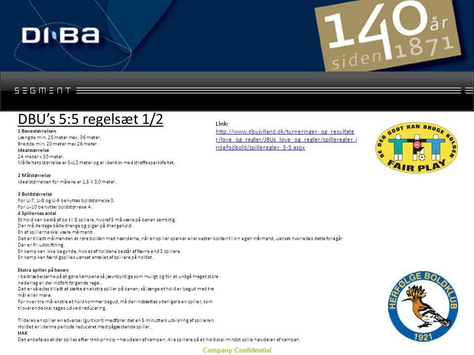 Company Confidential DBU's 5:5 regelsæt 1/2 1 Banestørrelsen Længde min.