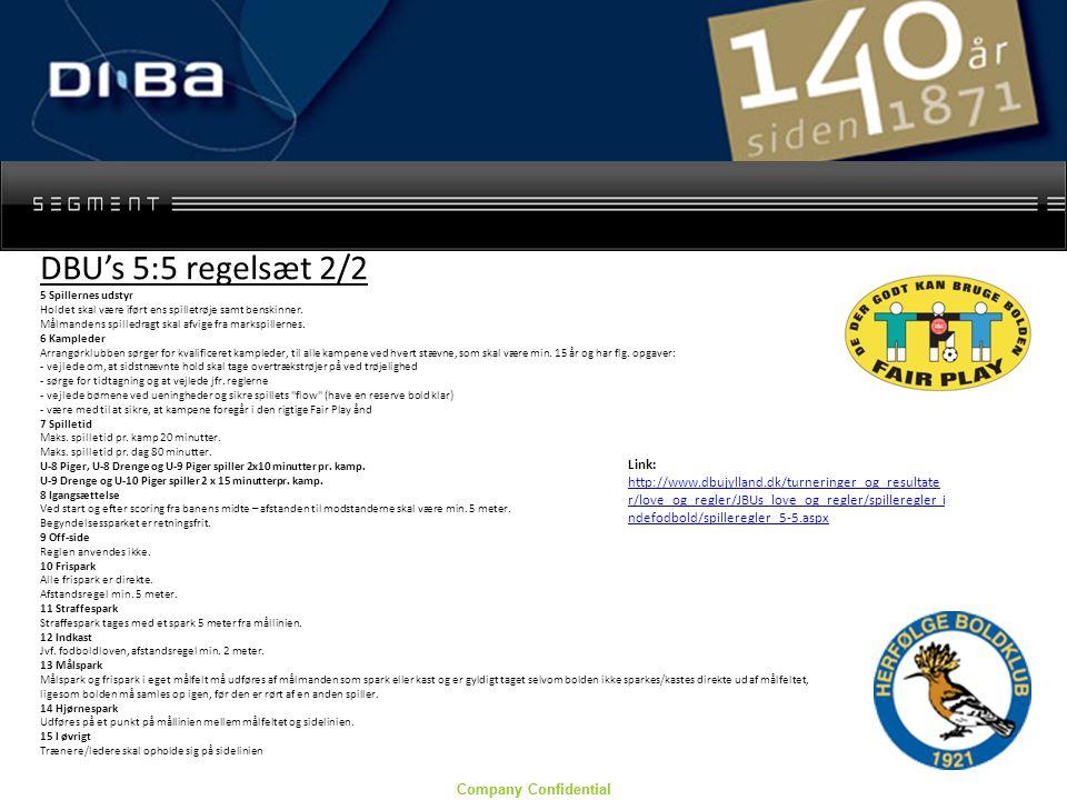 Company Confidential DBU's 5:5 regelsæt 2/2 5 Spillernes udstyr Holdet skal være iført ens spilletrøje samt benskinner.