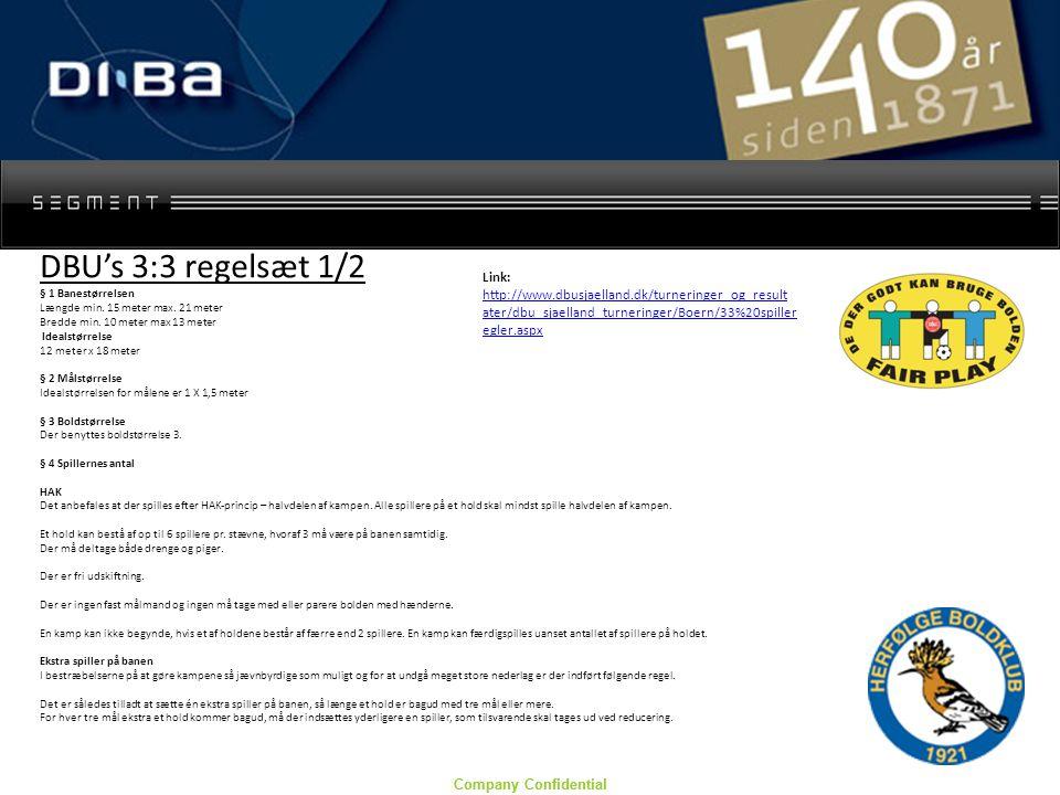 Company Confidential DBU's 3:3 regelsæt 1/2 § 1 Banestørrelsen Længde min.