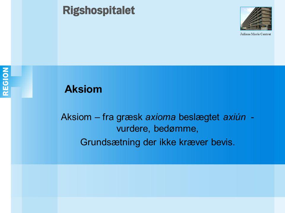 Aksiom Aksiom – fra græsk axioma beslægtet axiún - vurdere, bedømme, Grundsætning der ikke kræver bevis.