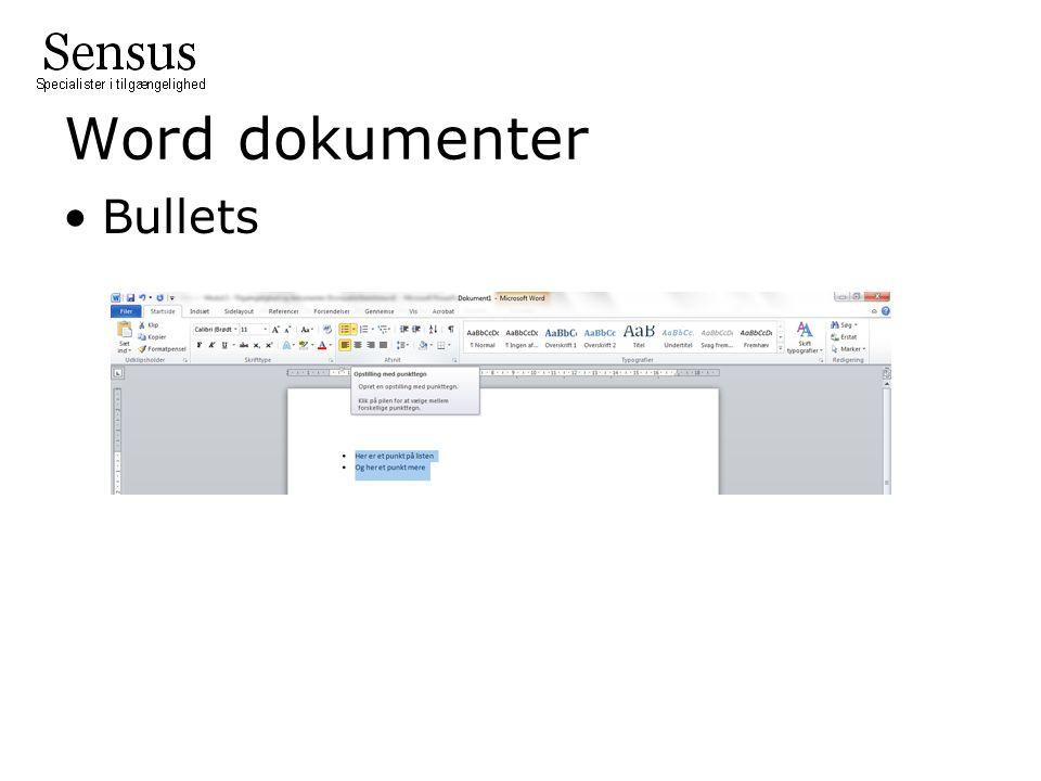Word dokumenter Bullets