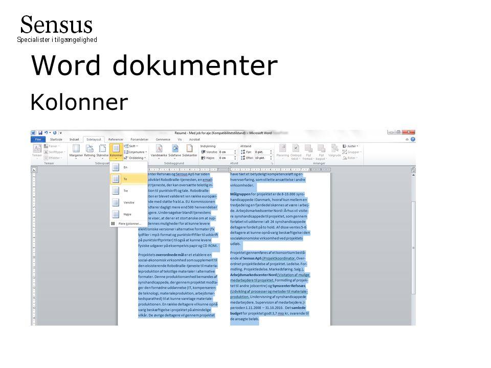 Word dokumenter Kolonner