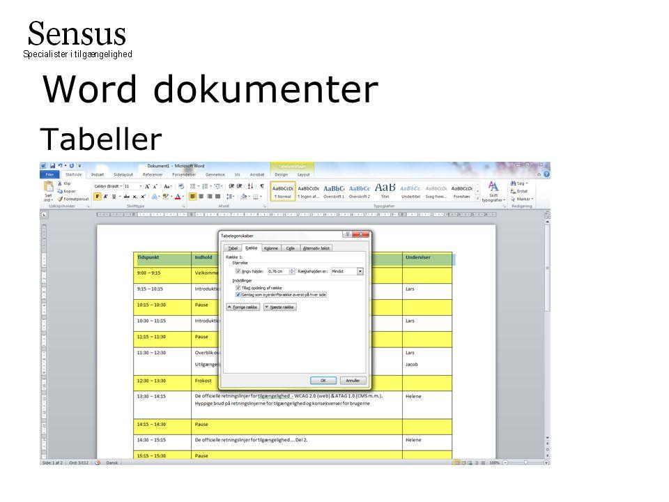 Word dokumenter Tabeller