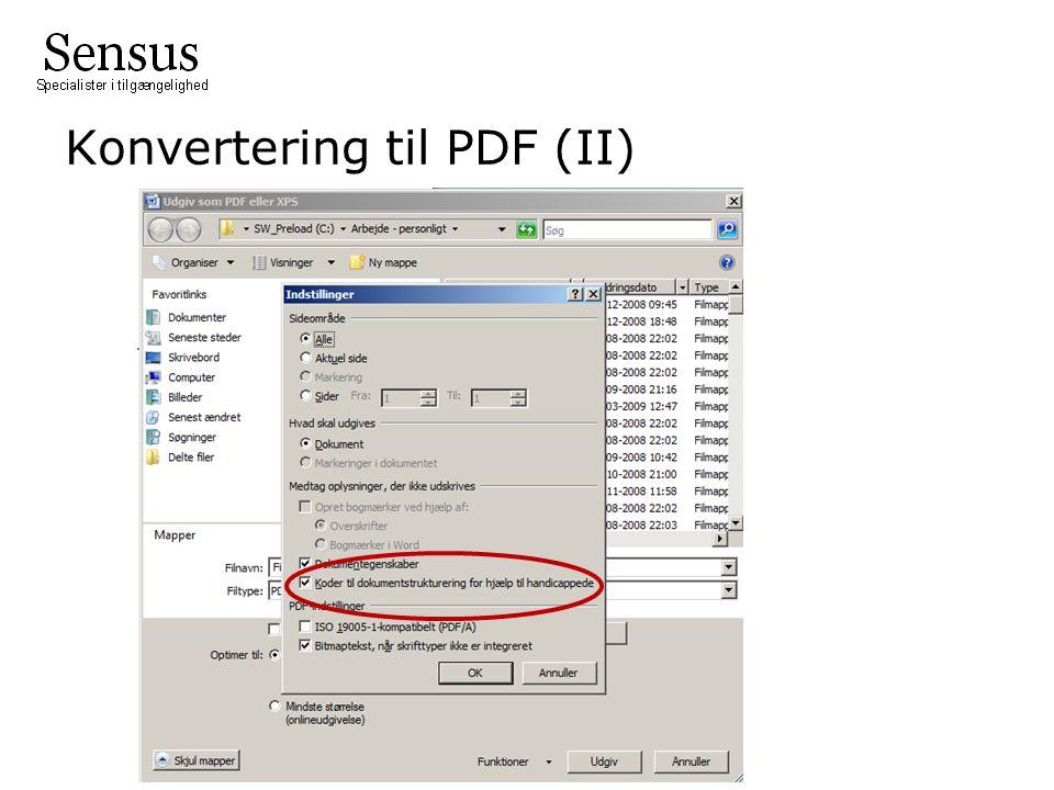 Konvertering til PDF (II)