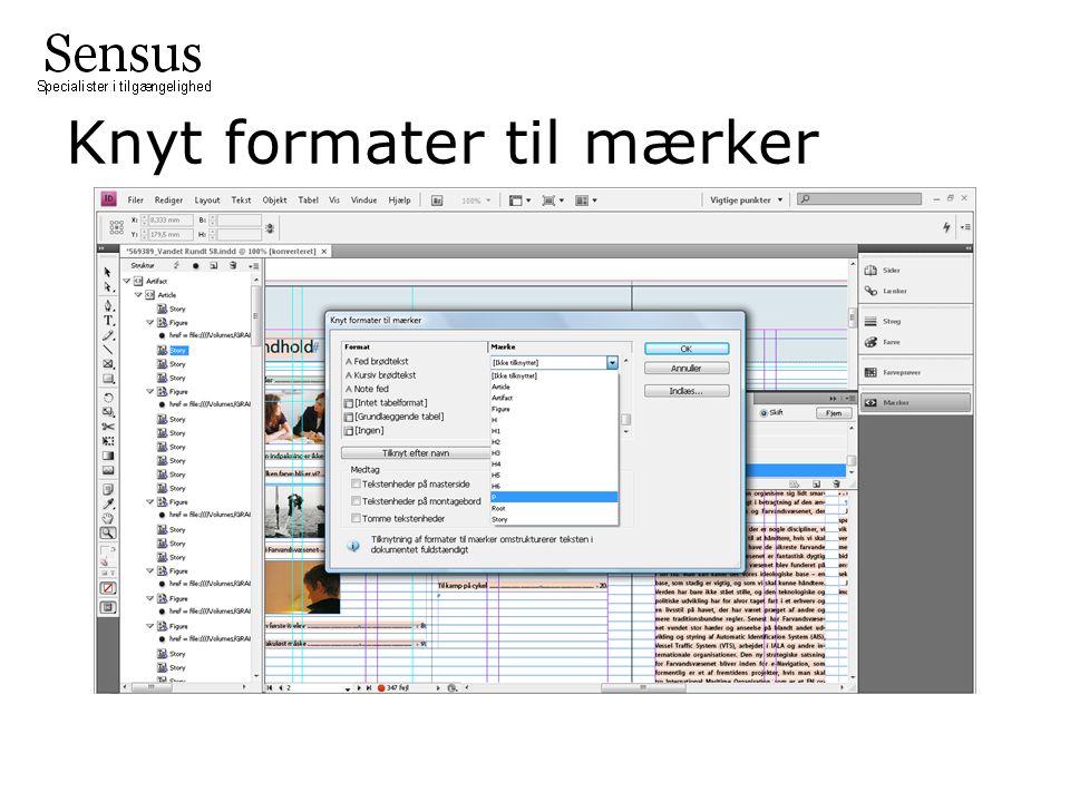 Knyt formater til mærker
