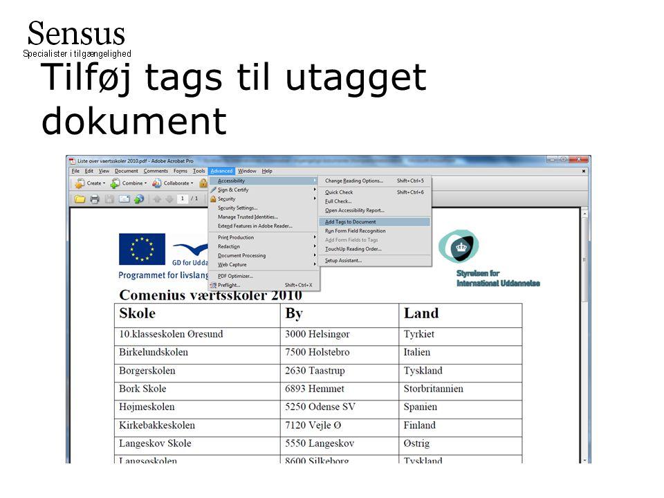 Tilføj tags til utagget dokument
