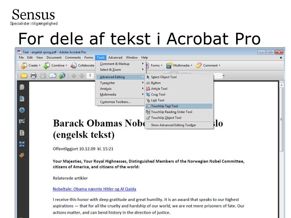 For dele af tekst i Acrobat Pro