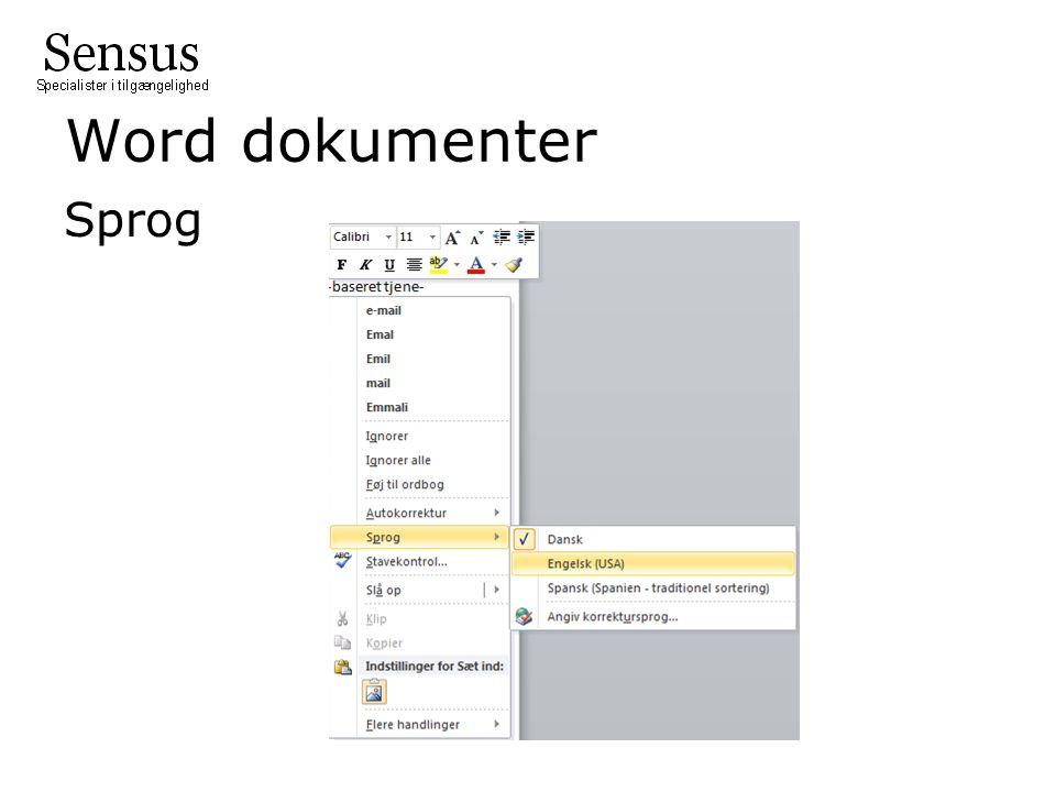 Word dokumenter Sprog