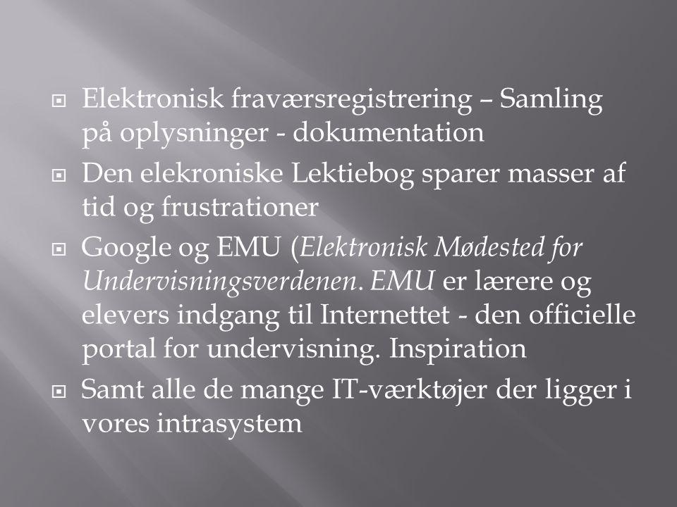  Elektronisk fraværsregistrering – Samling på oplysninger - dokumentation  Den elekroniske Lektiebog sparer masser af tid og frustrationer  Google og EMU ( Elektronisk Mødested for Undervisningsverdenen.