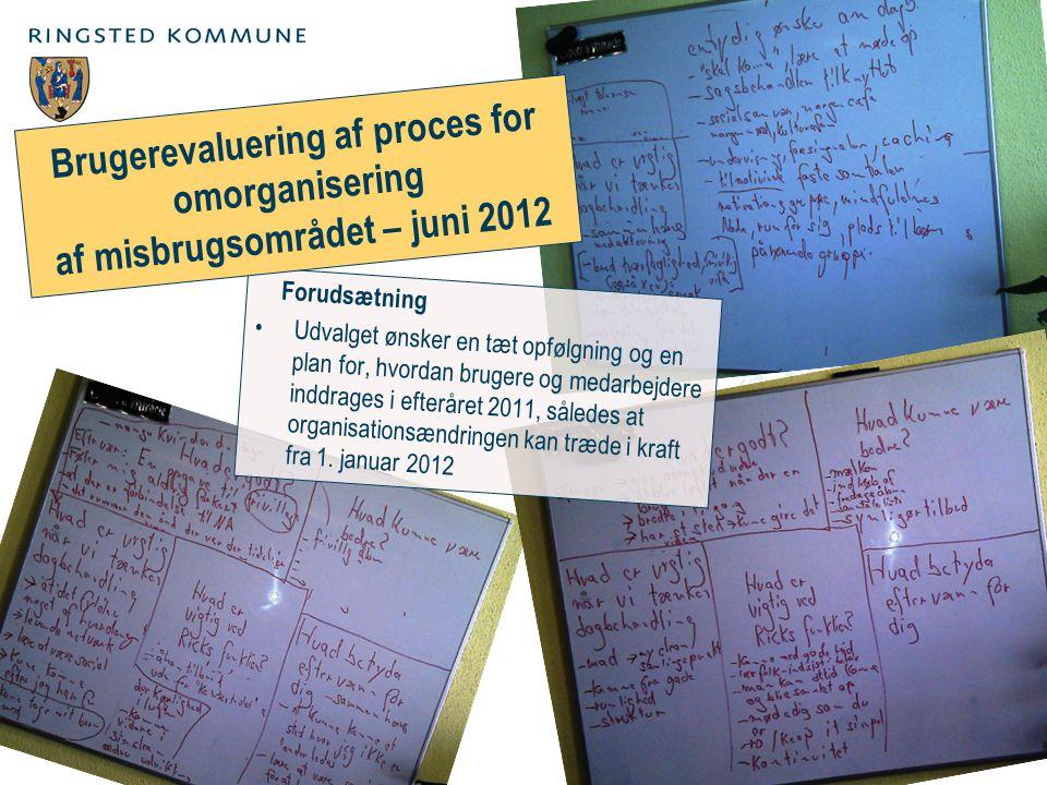Forudsætning Udvalget ønsker en tæt opfølgning og en plan for, hvordan brugere og medarbejdere inddrages i efteråret 2011, således at organisationsændringen kan træde i kraft fra 1.