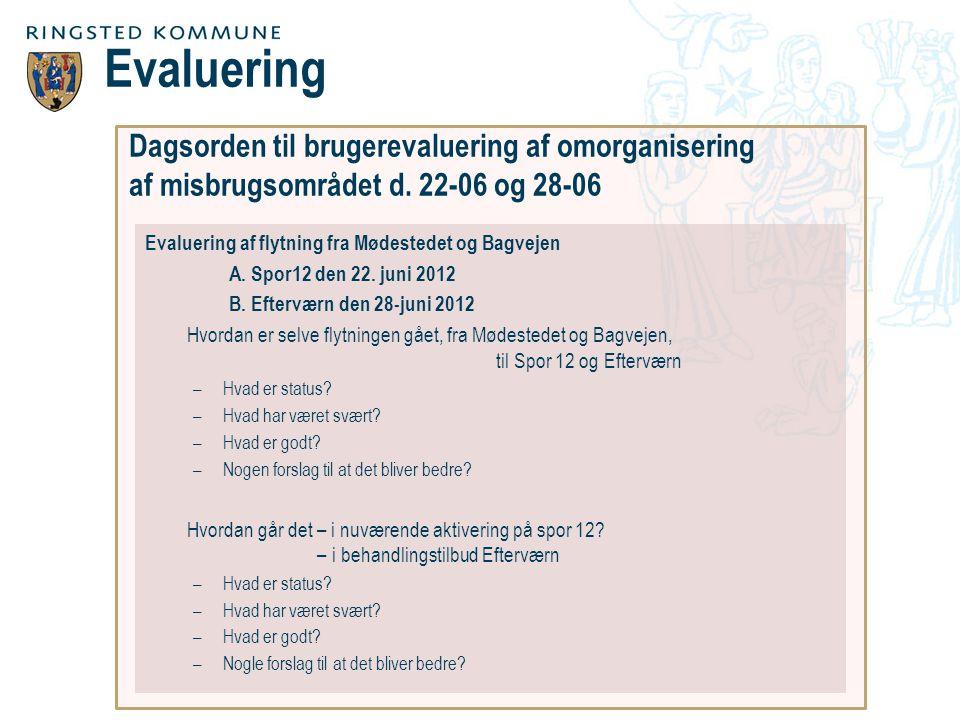 Dagsorden til brugerevaluering af omorganisering af misbrugsområdet d.