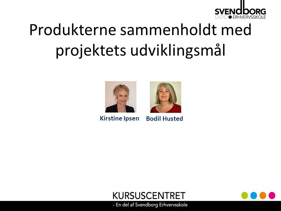 Produkterne sammenholdt med projektets udviklingsmål Bodil Husted Kirstine Ipsen