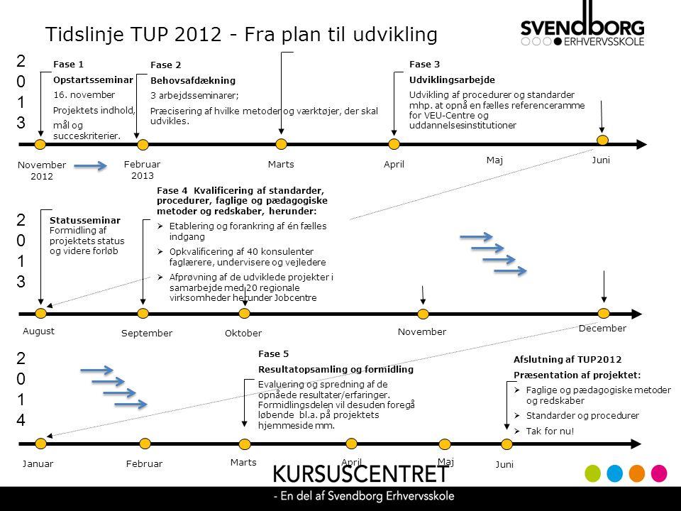 Tidslinje TUP 2012 - Fra plan til udvikling 20132013 November 2012 Fase 3 Udviklingsarbejde Udvikling af procedurer og standarder mhp.